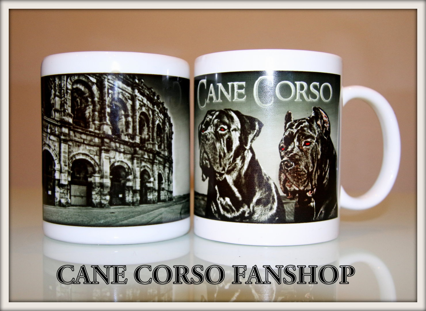 tasse design colosseum black white cane corso fanshop. Black Bedroom Furniture Sets. Home Design Ideas
